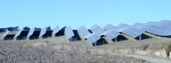 Part of the solar power plant. Ondulation of the panels  (we think) is to avoid wind damage
