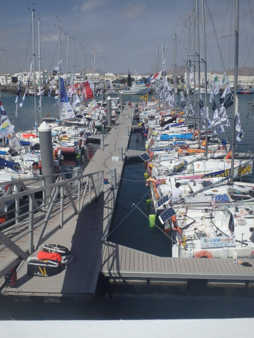 50+ fleet of Mini Transat yachts making a pitstop at Lanzarote