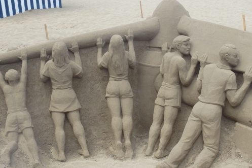 Sand Artist display at Playa Canteras, Las Palmas