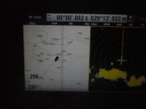Passing the Equator, at the right part of the radar picture squalls are seen as yellow areas