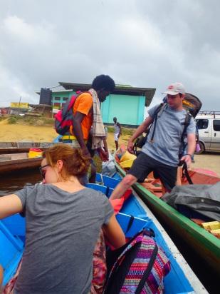 Our canoe takin on gosods and passenger