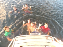 Swimming young visitors at Siberut, Mentawai Islands