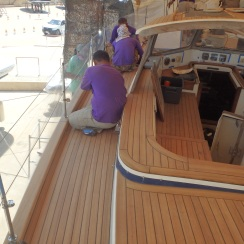 Almost finished, 50+ square meter beautiful new teak deck